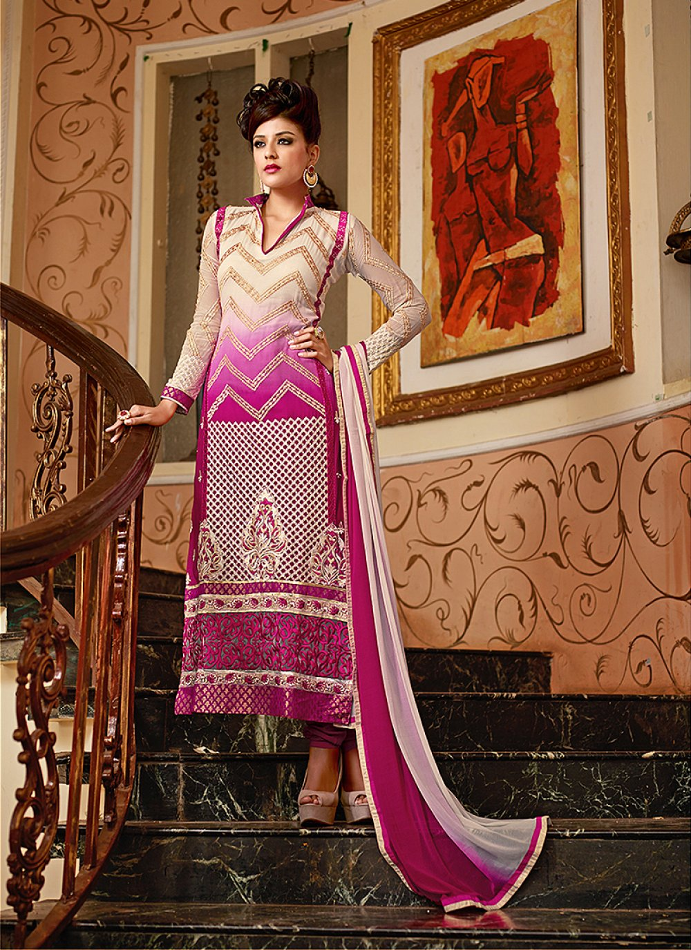 Cream And Pink Embroidery Work Churidar Suit