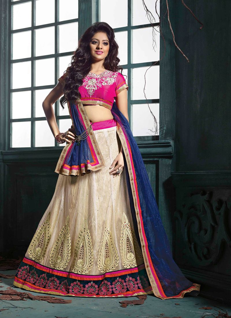Deepika Singh Cream And Pink Net Lehenga Choli