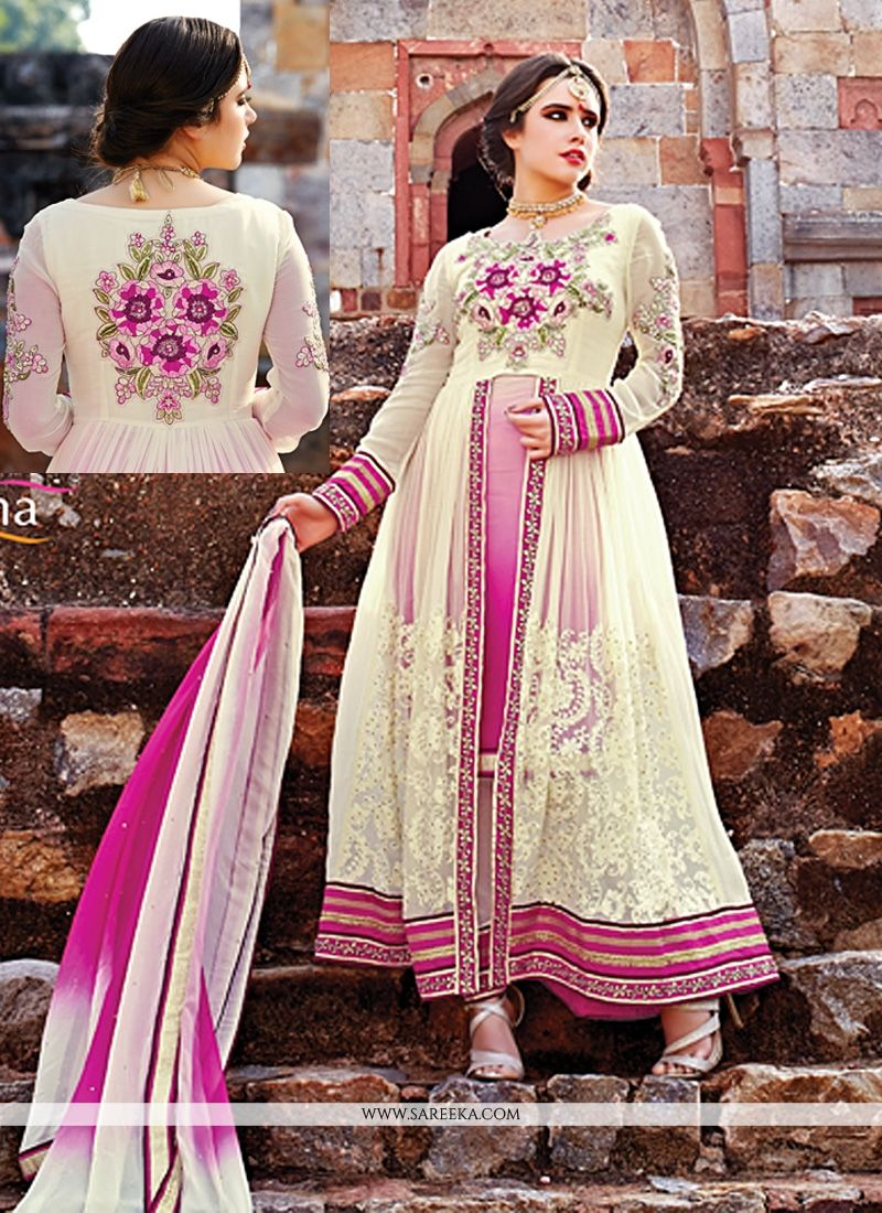 Cream And Pink Pure Georgette Anarkali Suit