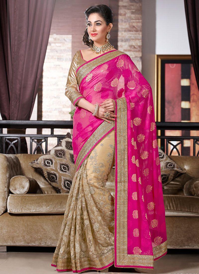 Cream And Pink Resham Work Georgette Designer Saree