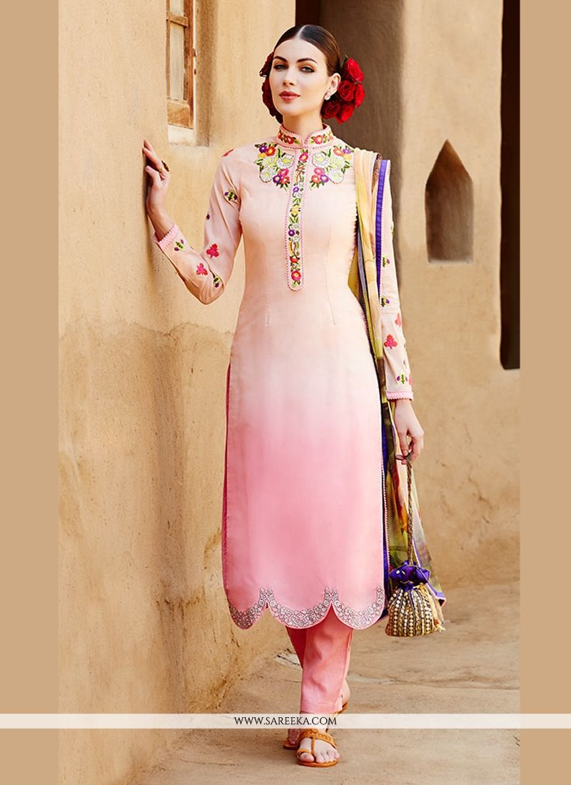 Cream And Pink Shaded Cotton Satin Salwar Suit