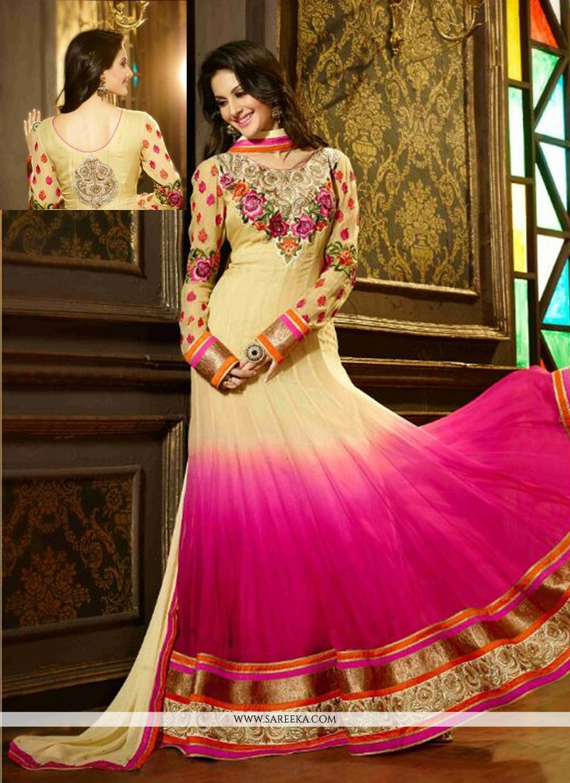 Cream And Pink Shaded Georgette Anarkali Suit
