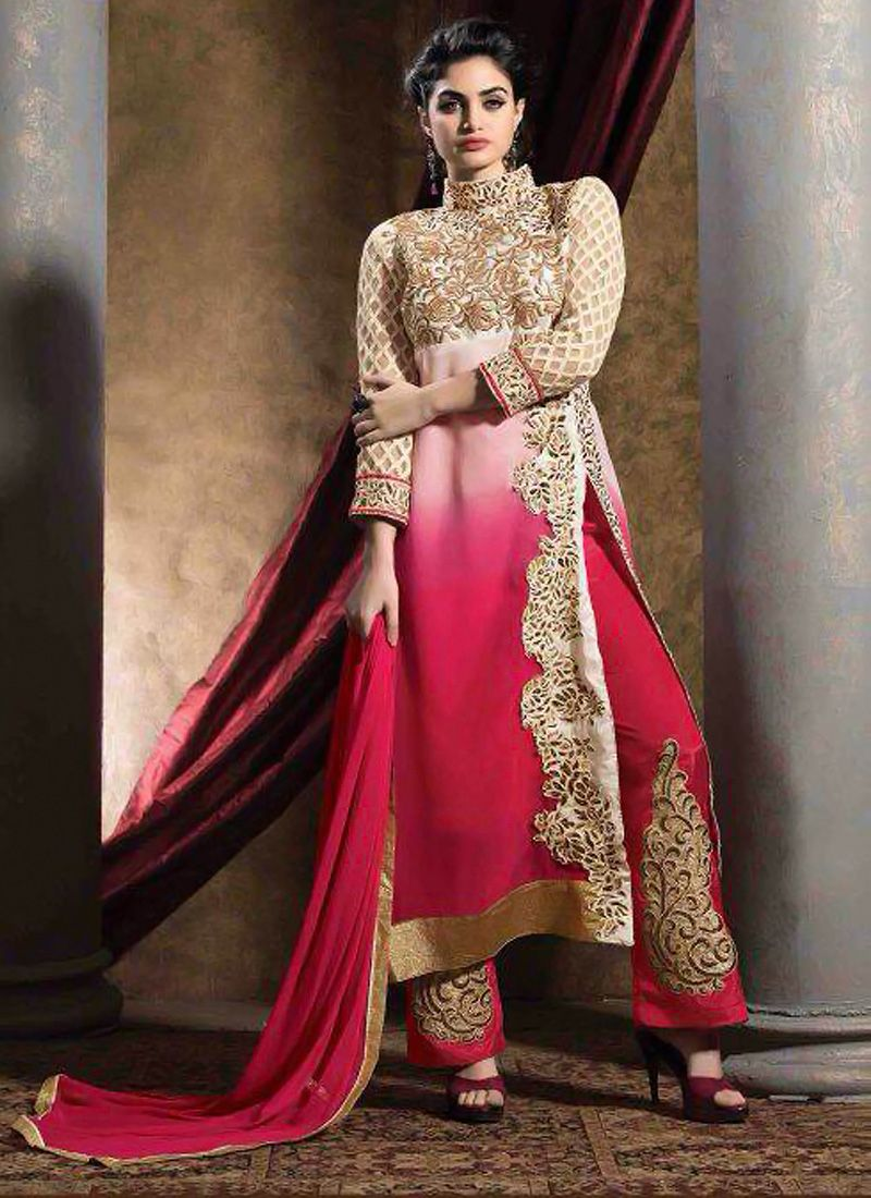 Cream And Pink Shaded Georgette Pakistani Suit
