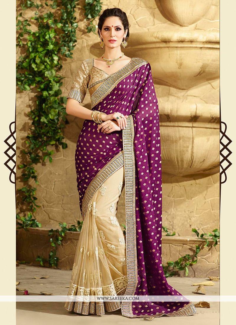 Cream And Purple Georgette Designer Saree