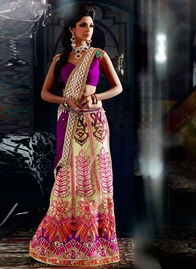 Cream And Purple Georgette Lehenga Style Saree