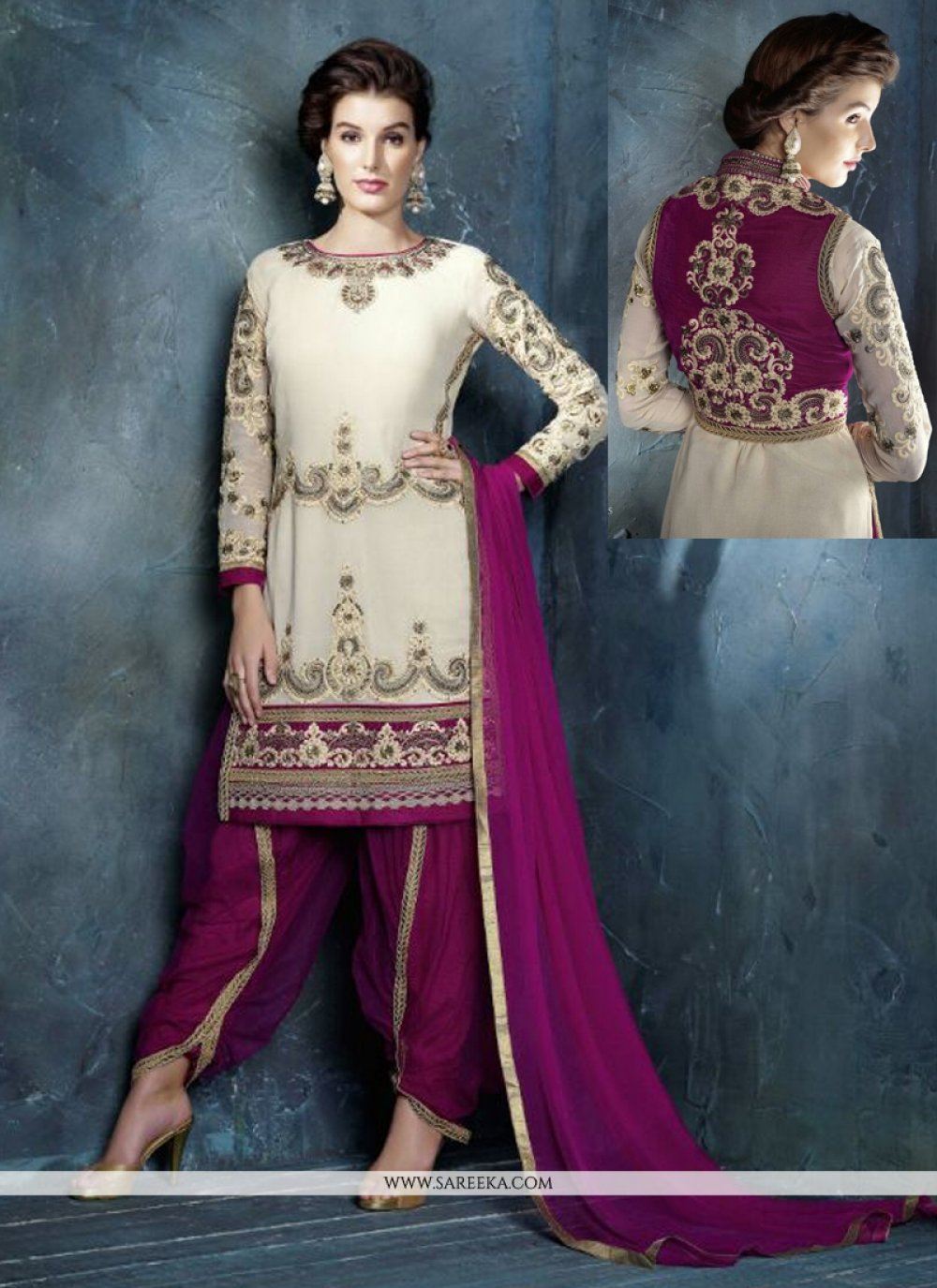 Cream And Purple Georgette Punjabi Suit