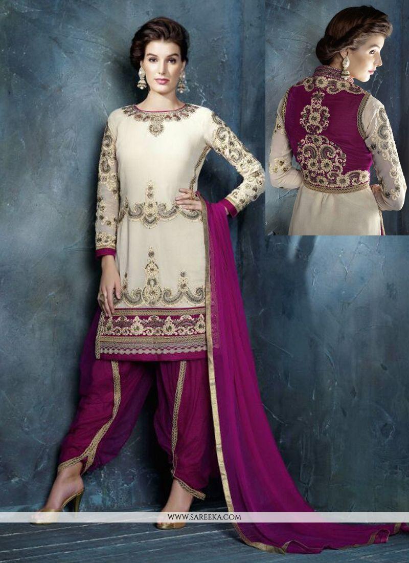 Cream And Purple Georgette Punjabi Suit