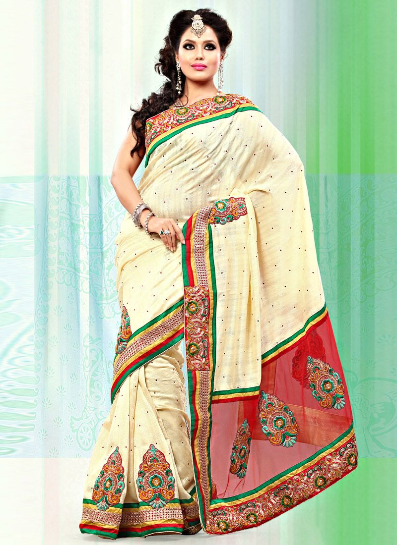 Cream And Red Art Bhagalpuri Jacquard Silk Net Saree