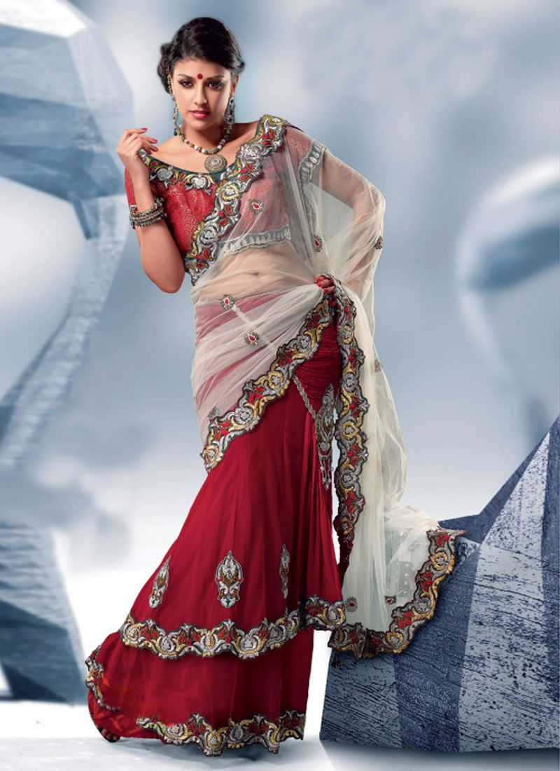 Cream And Deep Maroon Color Lehenga Style Saree