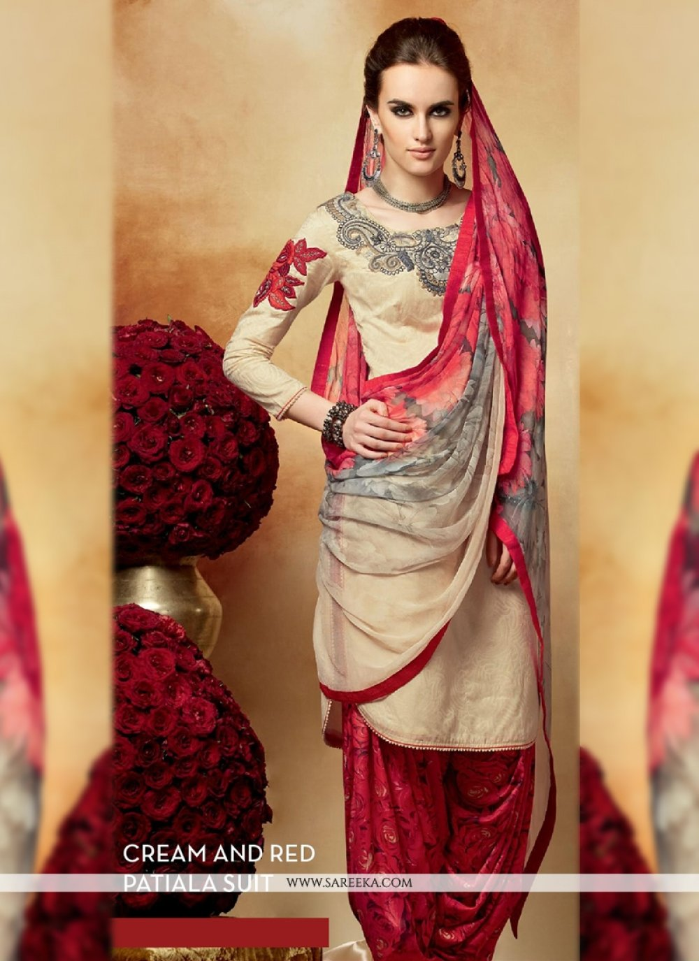 Cream And Red Cotton Silk Punjabi Suit
