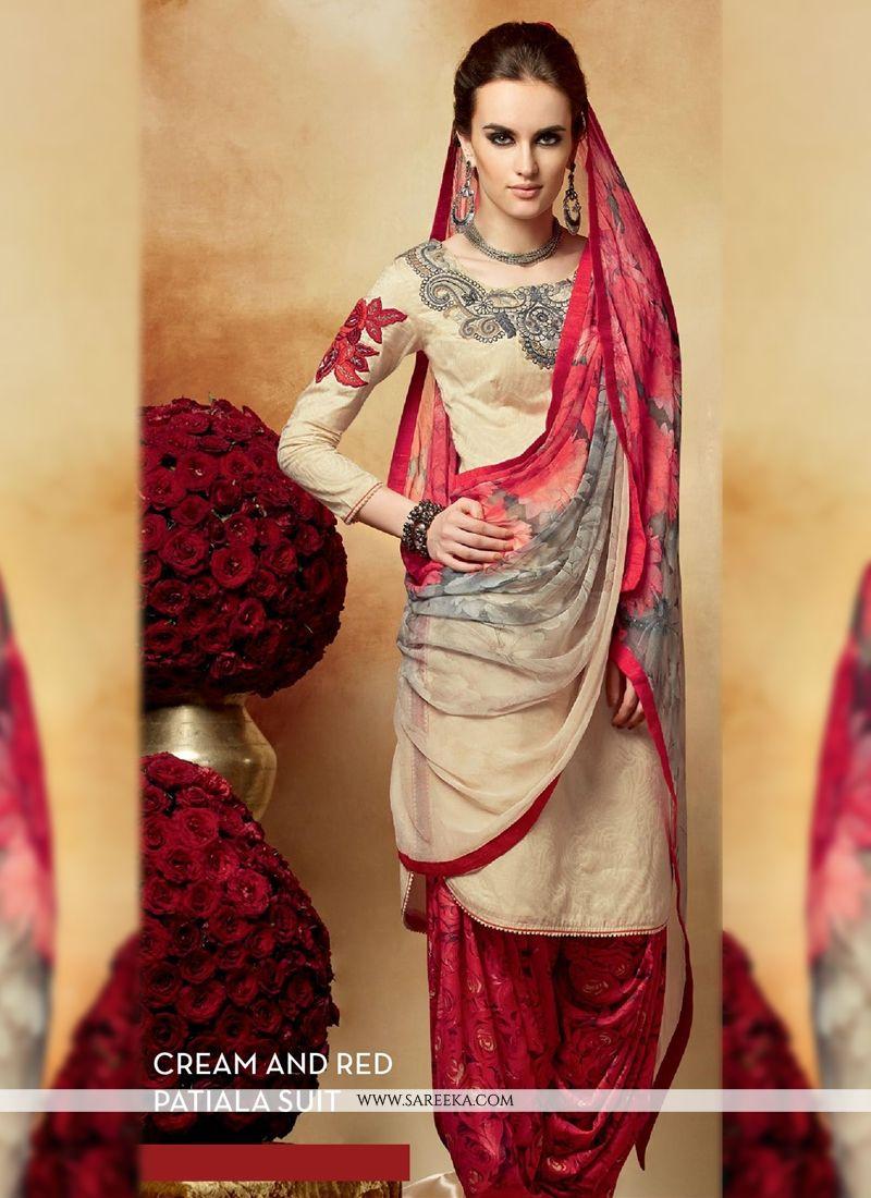 Cream And Red Cotton Silk Punjabi Suit