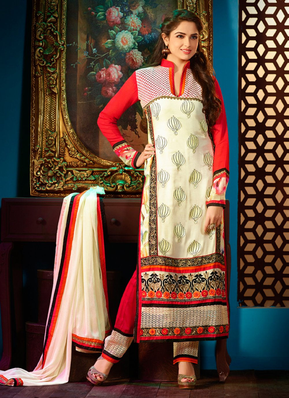 Cream And Red Faux Georgette Churidar Suit