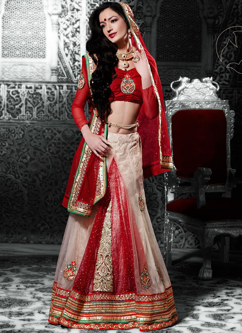 Cream And Red Net A Line Lehenga Choli