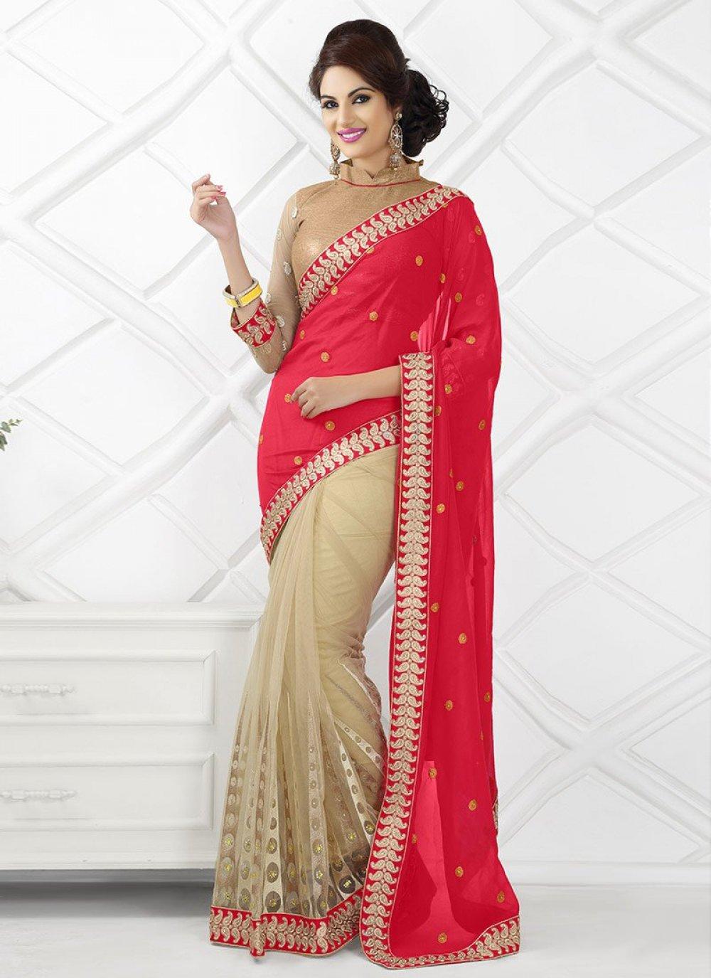 Cream And Red Net Saree