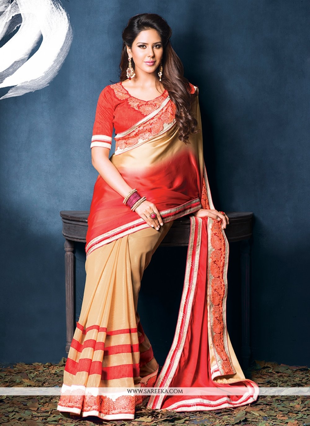 Cream And Red Shaded Crepe Designer Saree