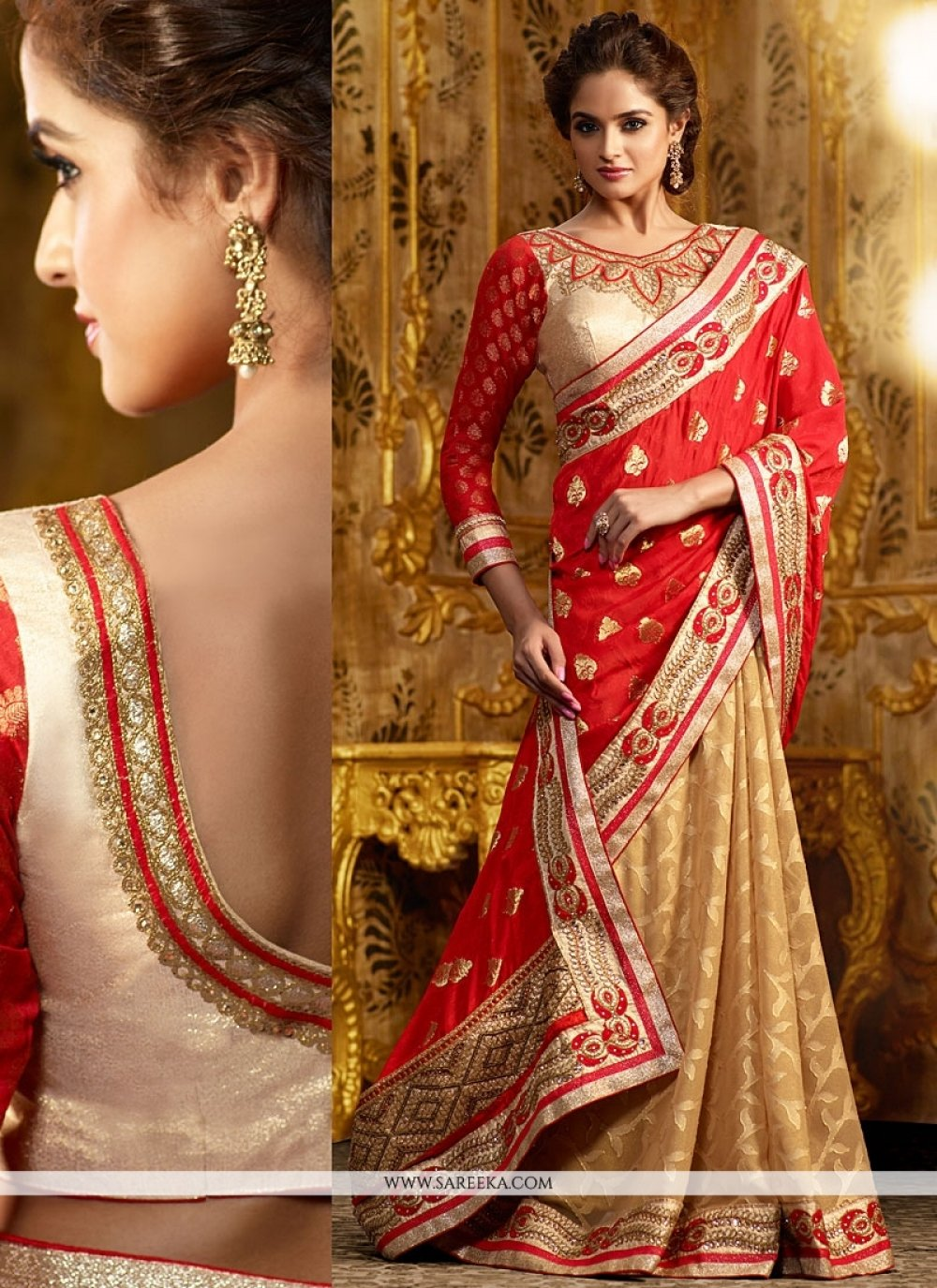 Cream And Red Zari Work Georgette Saree