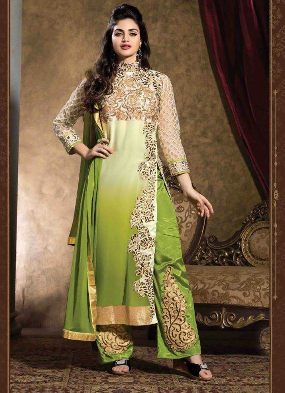 Cream And Sea Green Georgette Salwar Suit