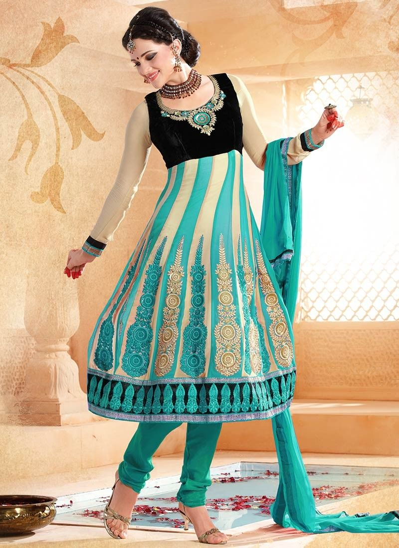 Cream And Turquoise Anarkali Suit -