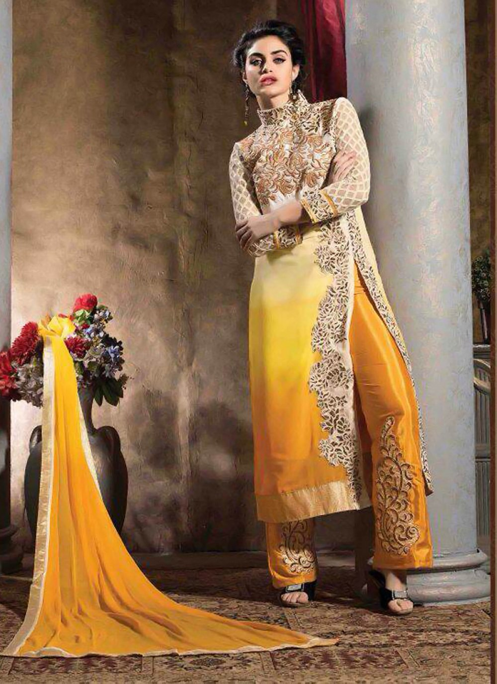 Cream And Yellow Shaded Georgette Salwar Suit