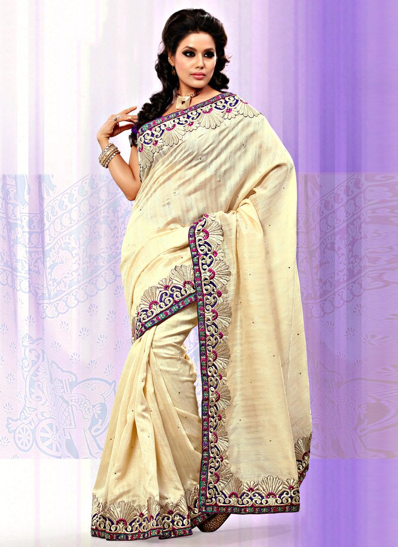 Cream Art Bhagalpuri Jacquard Silk Saree