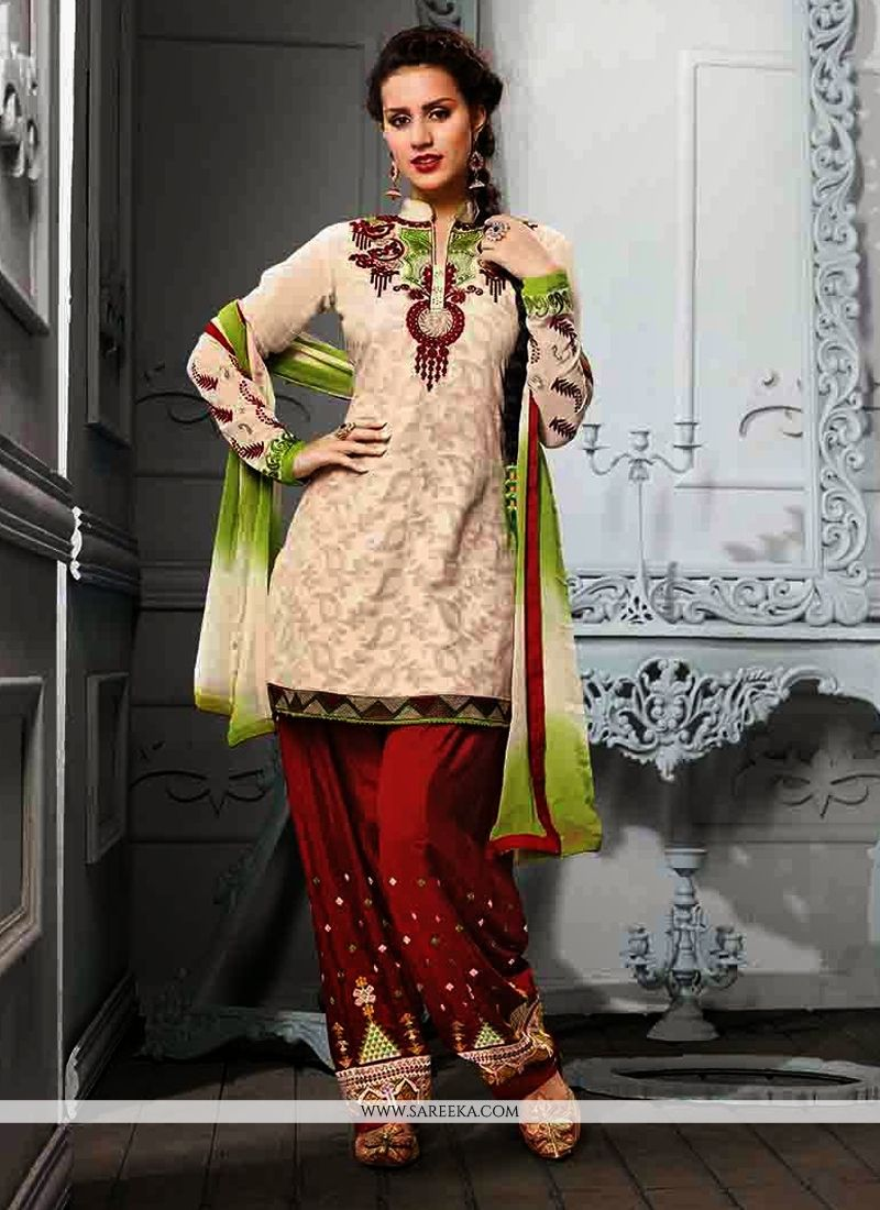 Cream Cotton Jacquard Punjabi Suit