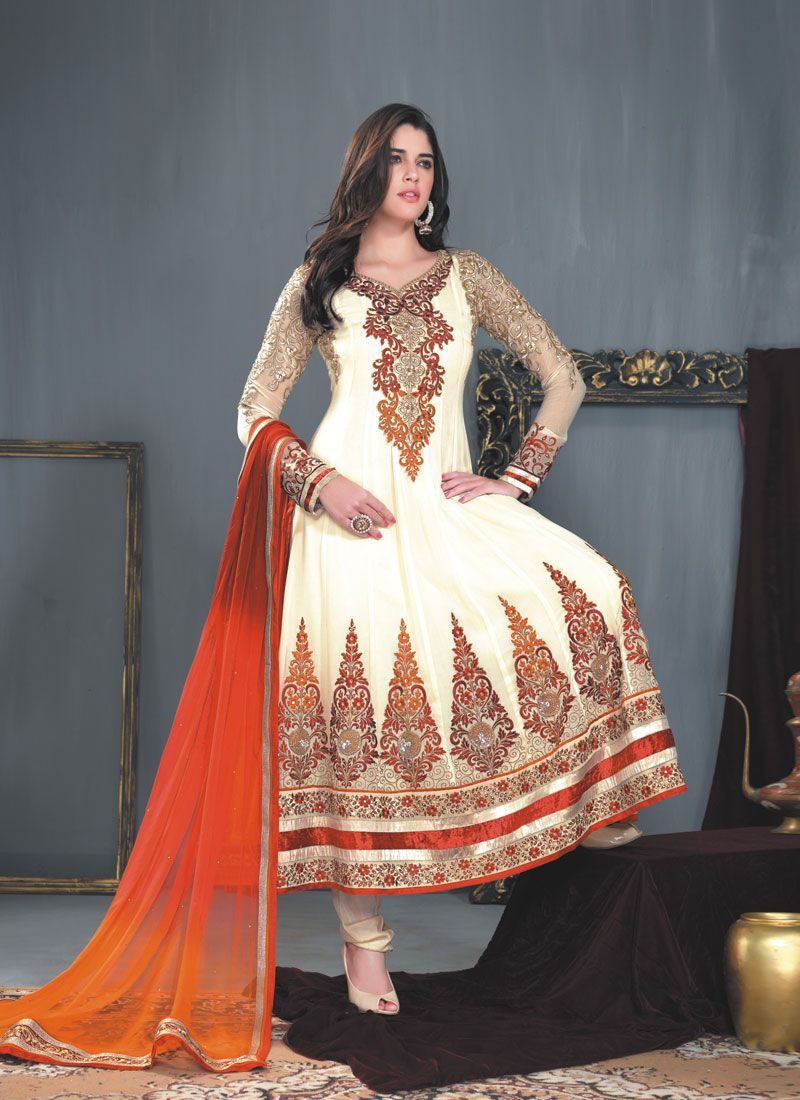 Cream Embroidery Border Work Anarkali Suit