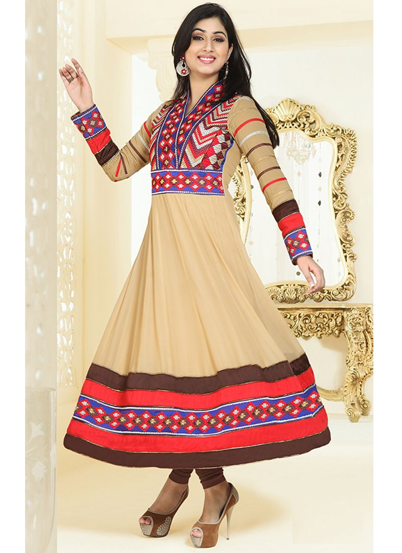 Cream Embroidery Work Anarkali Salwar Suit