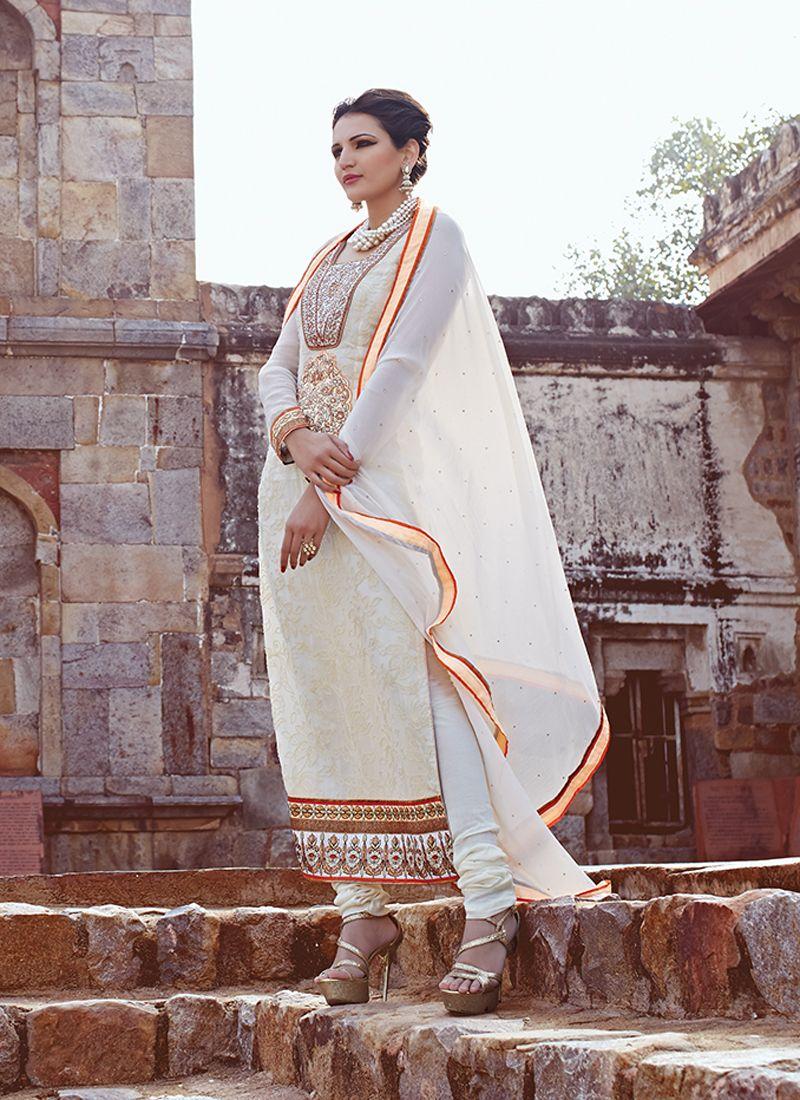 Cream embroidery work churidar salwar suit