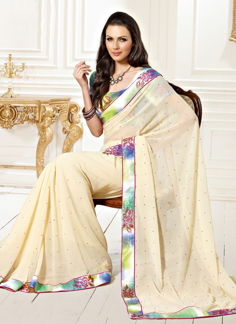 Cream Faux Chiffon Stone work Saree