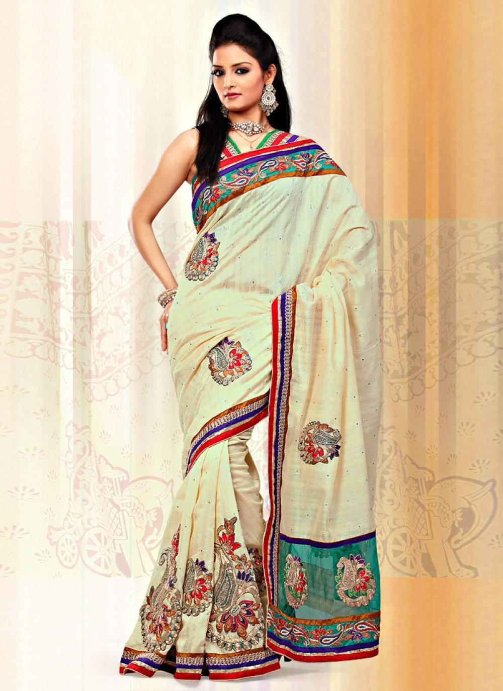 Cream Jacquard Art Silk And Net Saree