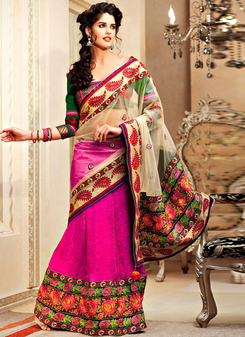 Cream Net And Magenta Jacquard Lehenga Saree