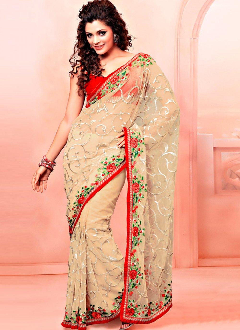 Cream Net Resham Enhanced Saree