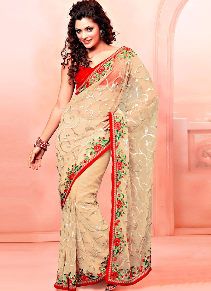 Cream Net Resham Enhanced Saree
