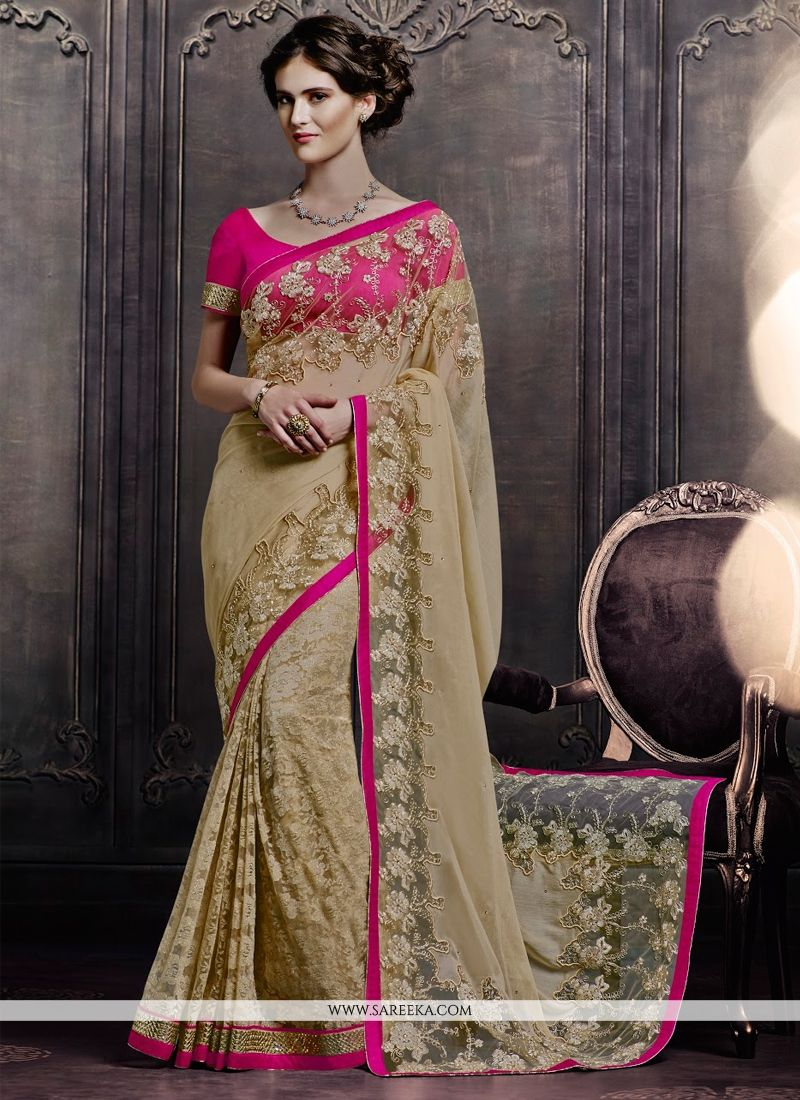 Cream Patch Border Work Faux Chiffon Designer Saree