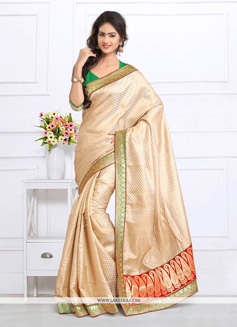 Cream Patch Border Work Jacquard Designer Saree