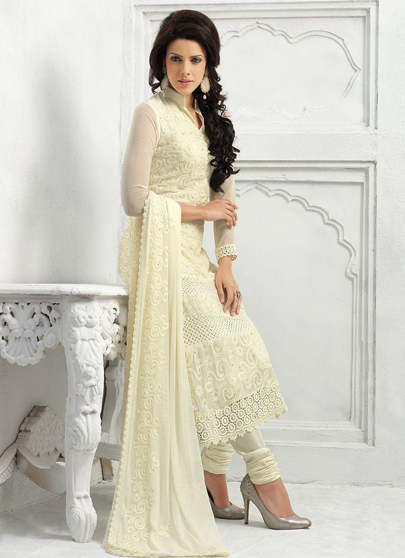 Cream Pure Chiffon Churidar Salwar Suit