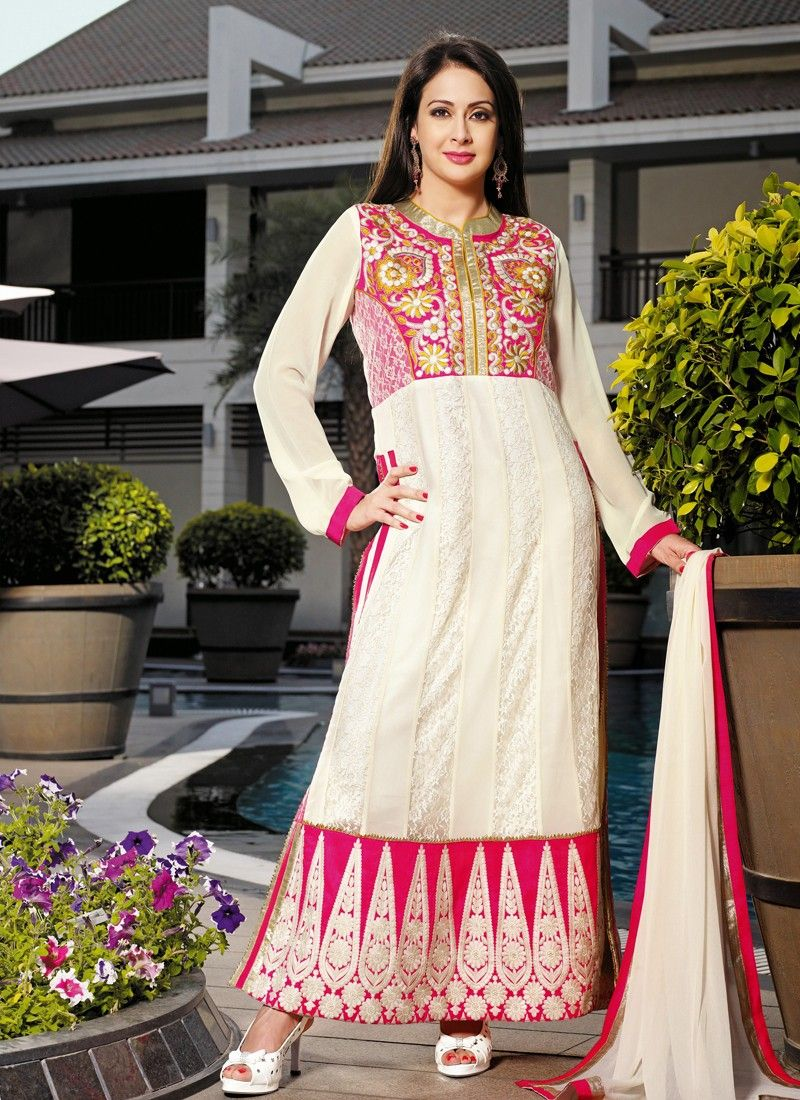Cream Resham Patch Border Work Net Churidar Suit