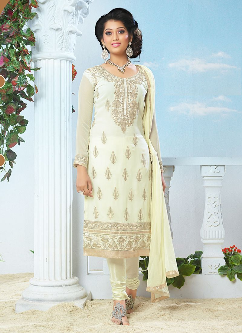 Cream Resham Work Churidar Salwar Kameez