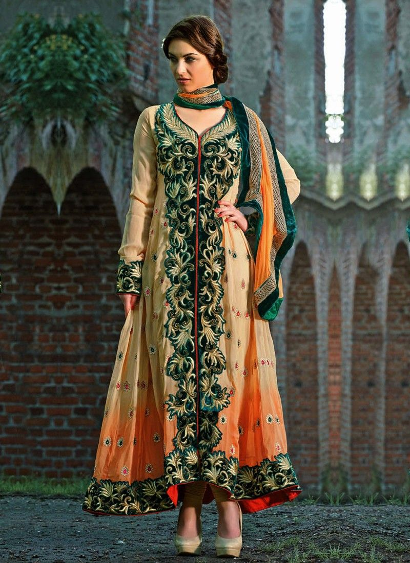 Cream Resham Work Georgette Anarkali Suit