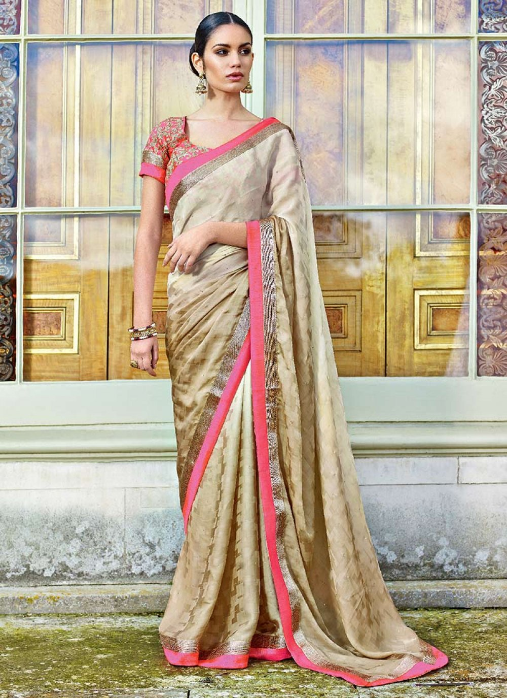 Cream Satin Jacquard Designer Saree
