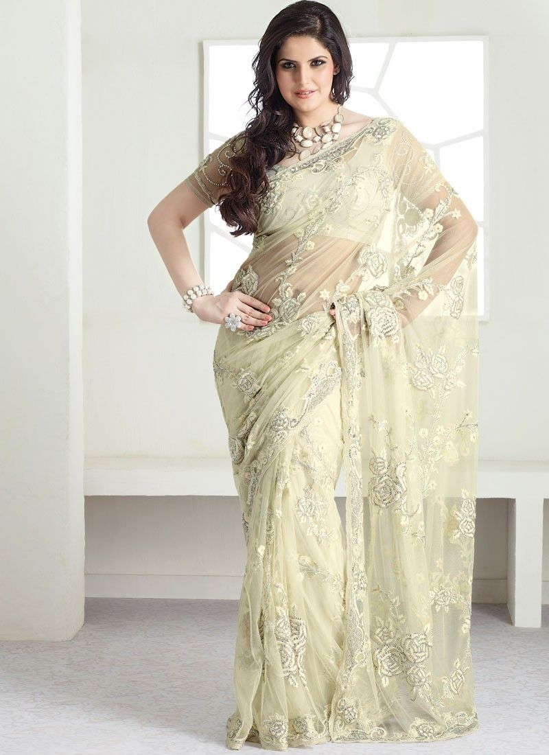 Cream Sequins And Resham Embroidered Net Saree