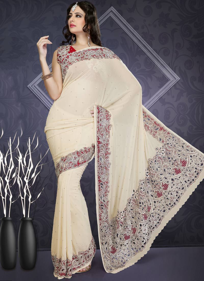Cream Stones Studded Georgette Saree