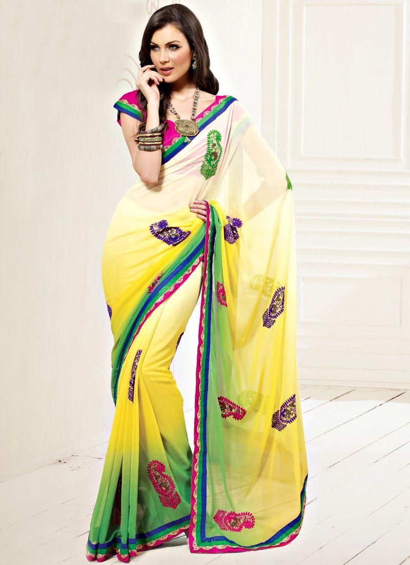 Cream,Yellow and Green Faux Chiffon Saree