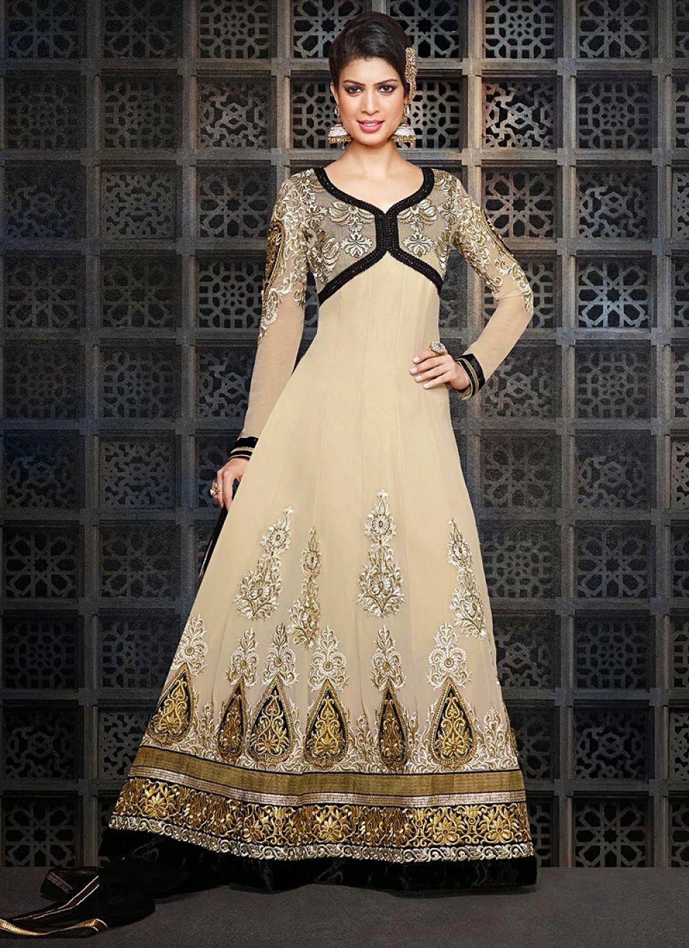 Cream Zari Work Faux Georgette Anarkali Suit