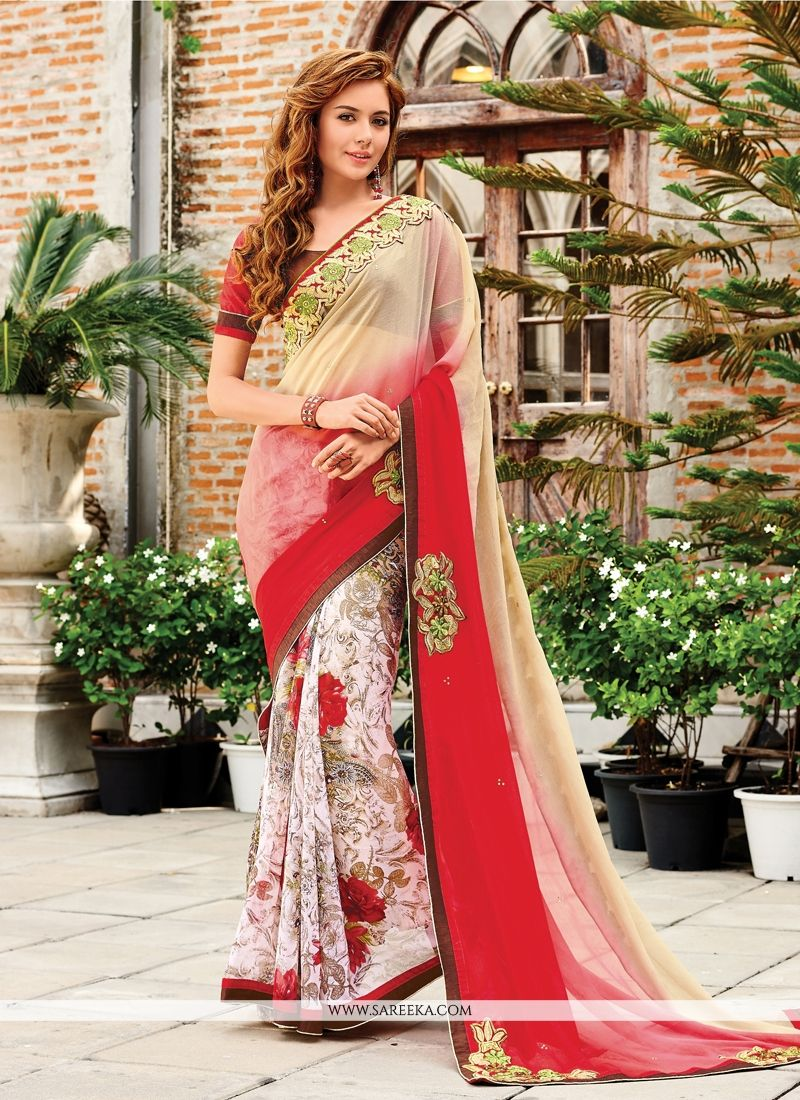Cream Zari Work Georgette Designer Saree