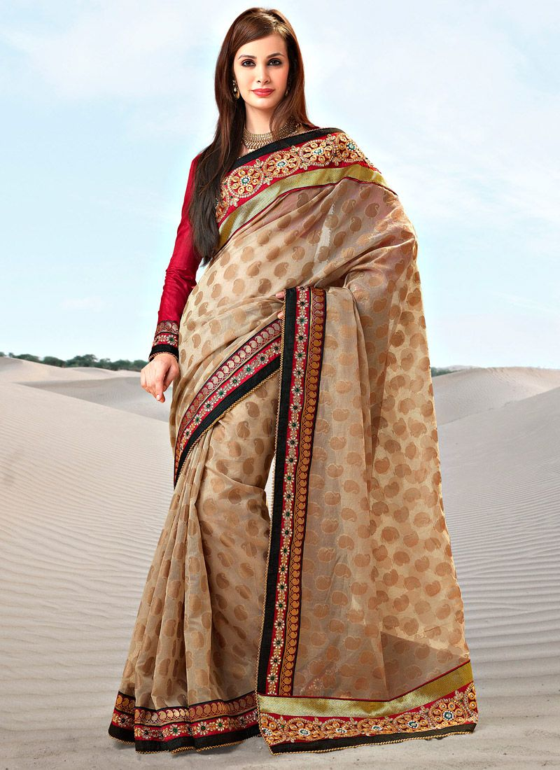Creamish Beige Art Brocade Saree