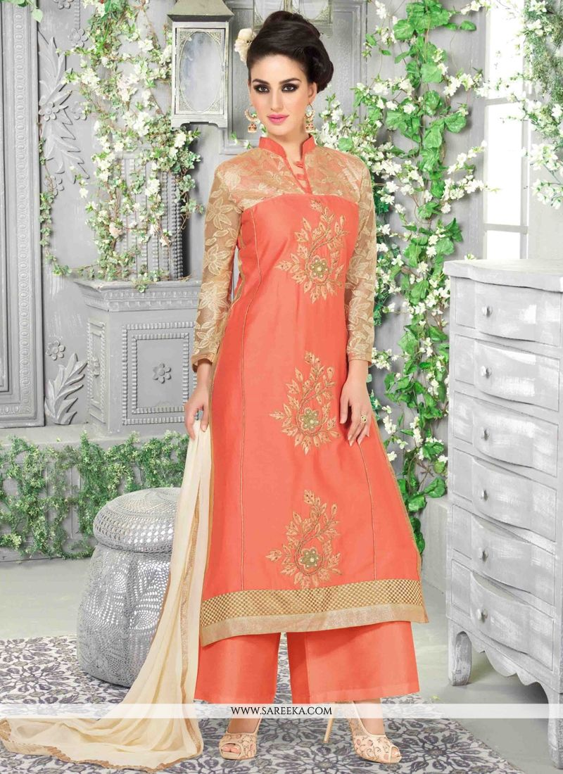 9d76a70b7b Cotton Satin Embroidered Work Designer Palazzo Salwar Suit -
