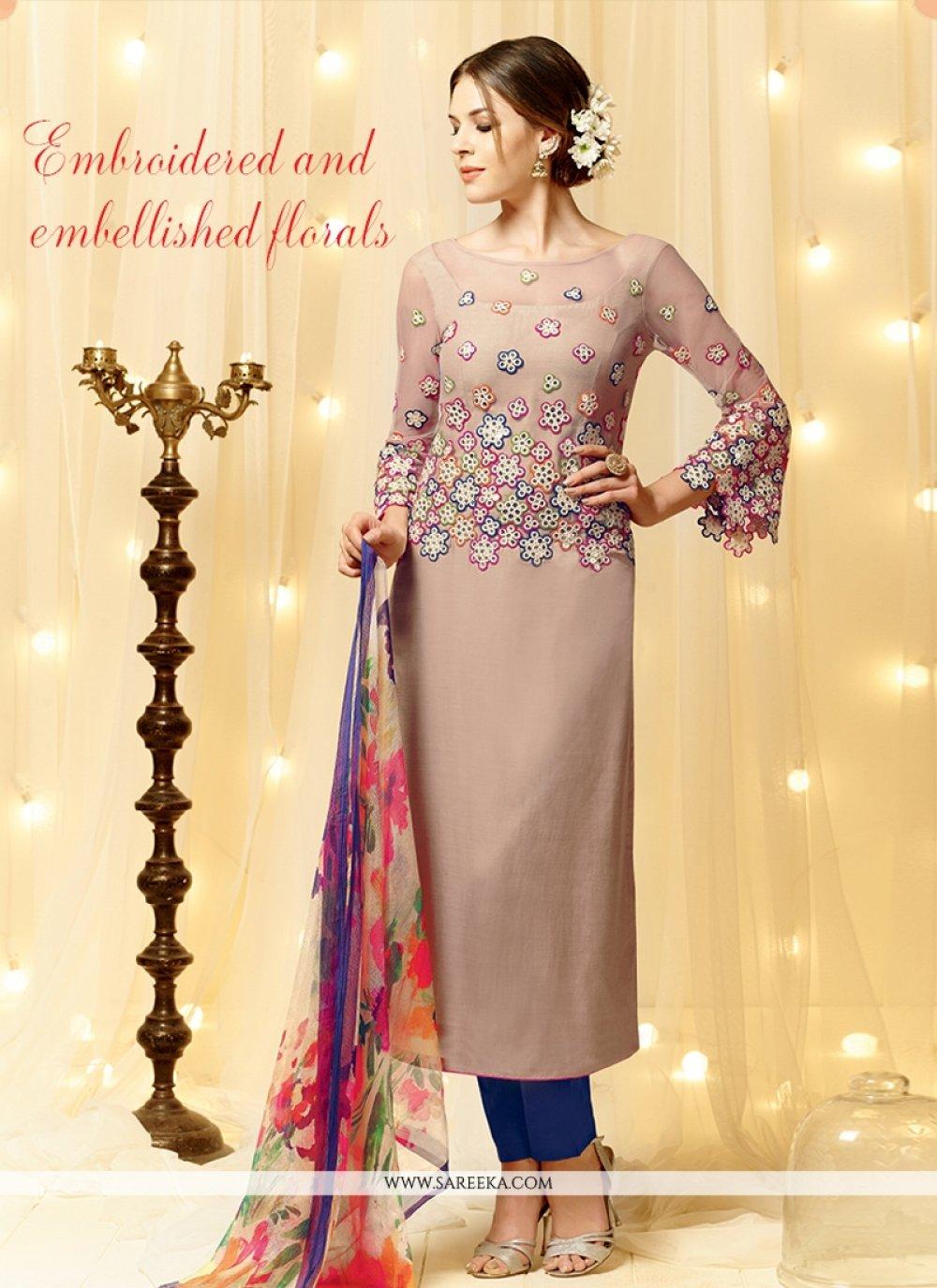 Embroidered Work Cream Cotton Satin Designer Straight Salwar Kameez