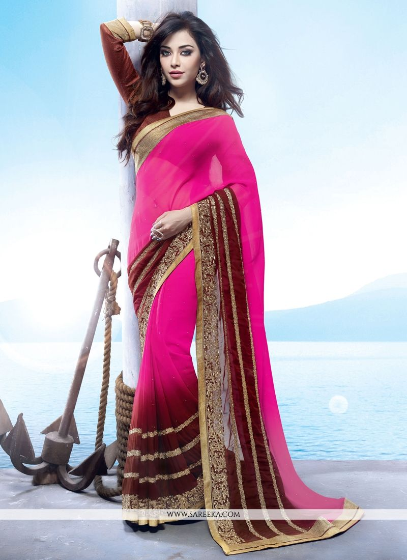 Georgette Brown and Hot Pink Lace Work Designer Saree