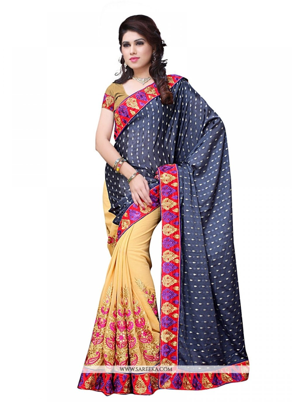 Georgette Grey Designer Saree
